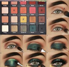green eyeshadow looks ideas step by step for beginners, eye makeup for prom, eye makeup look ideas , eye makeup ideas for blue eye. Green Eyeshadow, Makeup For Green Eyes, Blue Eye Makeup, Smokey Eye Makeup, Eyeshadow Makeup, Eyeliner, Eyeshadow Ideas, Gold Eyeshadow Looks, Ikea Makeup