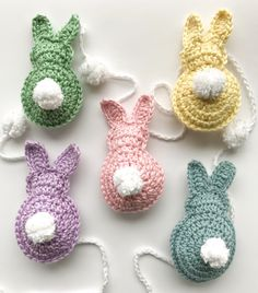 This fast and easy free Easter Bunny crochet pattern makes the perfect Easter basket gift! Or string several together for a cute Easter decoration or nursery decor year round! Easter Bunny Crochet Pattern, Crochet Coaster Pattern, Crochet Motif, Free Crochet, Holiday Crochet, Crochet Gifts, Crochet Stitches Patterns, Amigurumi Patterns, Basket Gift