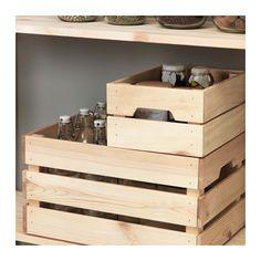 KNAGGLIG Boîte IKEA La caisse est solide et vous permet d'y ranger des canettes et des bouteilles. Gagnez de l'espace en empilant 2 caisses.