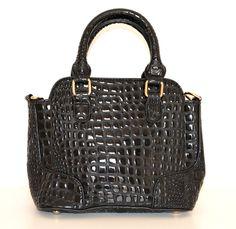 Borsa pelle nera donna coccodrillo vernice bauletto lucida сумка sac bag  1100 Bago 94ae854a75a