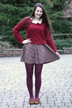 Motel red jumper, floral Zara dress, mocs