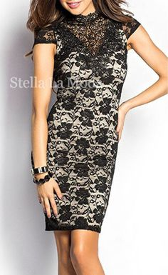 $34.99 Black High Neck Open Back Lace Vintage Dress - Stella La Moda