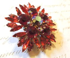 Large Rhinestone Brooch Pin Fire Red Orange Flower Vintage Jewelry