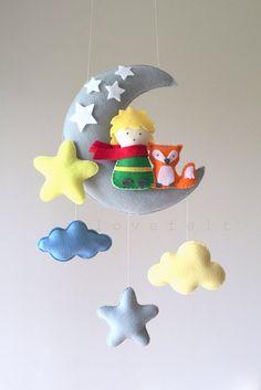 Baby mobile – Prince mobile – Moon mobile – Crib Mobile Moon – Baby Mobile Stars Baby mobile The Little Prince mobile Moon by lovefeltmobiles Felt Crafts, Diy And Crafts, Diy Bebe, Baby Crib Mobile, The Little Prince, Felt Ornaments, Cribs, Baby Gifts, Kids Room