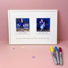 First & Last Day at School Photo Print - Framed print / Without triangle pattern