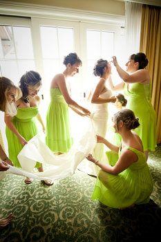 Wedding, Hair, White, Green, Dress, Makeup, Bridesmaids, Bride