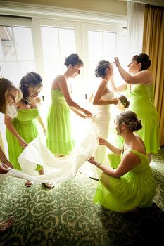 Wedding, Hair, White, Green, Dress, Makeup, Bridesmaids, Bride