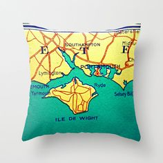 Isle of Wight ENGLAND Map Pillow