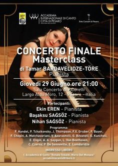 Pesaro concerto finale per il Masterclass della pianista Tamar Bardavelidze-Tore