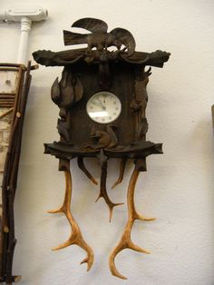 Items similar to Black Forest Carved Wooden Antler Alarm Clock SideBoard on Etsy Clock Craft, Twig Furniture, Jewelry Case, Black Forest, Antlers, Alarm Clock, Rustic Decor, Sideboard, Carving