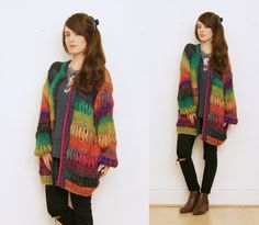 Hippie rainbow cardigan 90s hippie cardigan chunky by bohokimono