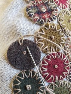 ideas embroidery stitches wool penny rugs for 2019 – hand embroidery Fabric Art, Fabric Crafts, Sewing Crafts, Sewing Projects, Art Projects, Wool Embroidery, Embroidery Stitches, Embroidery Designs, Cross Stitches