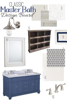 Classic Blue Master Bathroom Decor and Design with metallic tile, double vanity, and crisp accents to create a relaxing master bath