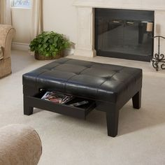 Home Loft Concept Chatham Leather Storage Ottoman in Black