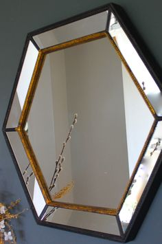 Gold Edged Hexagonal Vintage Wall Mirror - The Forest & Co.