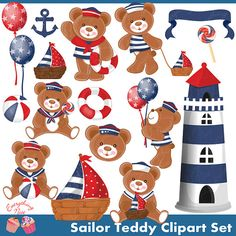 Sailor Teddy Clipart Set by on Etsy Boy Baby Shower Themes, Baby Shower Cards, Clip Art, Baby Birthday Card, Birthday Parties, Monkey 2, Bear Clipart, Scrapbook Background, Arts And Crafts