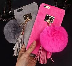 Winter Warm Soft Rabbit Fur Plush Ball Tassel Case Cover for iPhone 6/6S/6S Plus #UnbrandedGeneric