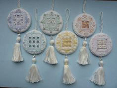 Gelati - These six ornaments, worked in Punto Antico embroidery, are an impressive addition to any tree. Or use them for pincushions, sachets or other small projects. Each is named for a different fruity flavor of delicious, refreshing Italian ice cream!