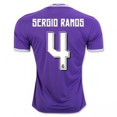 Real Madrid 16-17 Sergio Ramos 4 Bortatröja Kortärmad  #Fotbollströjor