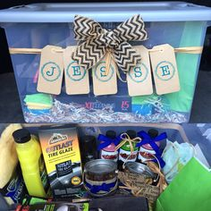 """Gift Idea for a truck-loving man: sponge, shampoo, tire gloss, detail spray, all purpose cleaner, billet wheel polish, bottle opener, koozie, lanyard, st. Christopher medallion, yeti cup, a hat, USB port, selfie stick, microfiber towels, drying towel, bucket of chocolate covered raisins """"a sweet treat for a sweet guy"""", a bucket of mixed nuts reading """"you're nuts but I love you anyway"""" & a large plastic container to keep all the products in. #justbecause #adamspolish #adanswheeldetailing…"""