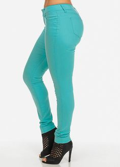 Stretchy Low Rise Skinny Jeans (Turquoise)