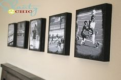 black n white photo/spray adhesive/scrap wood/black acrylic paint/modge podge = photo canvas