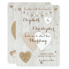 Rustic Wedding Invitation / bunting and hearts #zazzle #Lynnrosedesigns