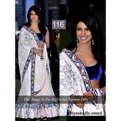 Priyanka ifa award white saree with velvet blouse