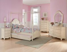 Homelegance Cinderella Canopy Poster Bed in Antique White - Twin without Trundle traditional furniture (woo, bit pricey! Canopy Bedroom Sets, Wood Canopy Bed, Girls Canopy, Bedding Sets, Canopy Beds, Kids Bedroom, Full Beds, Bedroom Ideas, Luxury Houses