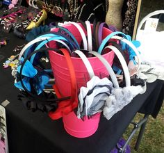 Headband display in a pail!