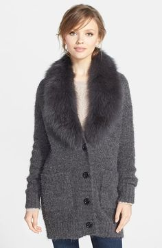 Jessica Wilde Genuine Fox Fur Collar Wool Blend Cardigan available at #Nordstrom