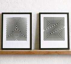 Yeah No Yeah alphabet prints (via Design Sponge) Typography Prints, Graphic Design Typography, Hand Lettering, Alphabet Print, Alphabet Posters, Type Illustration, Letter Art, Art Plastique, Op Art
