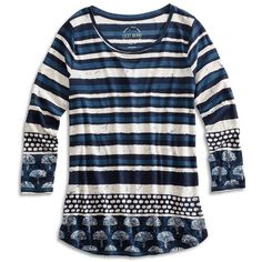 Lucky Brand Batik Stripe Tee ($21) ❤ liked on Polyvore featuring tops, t-shirts, blue multi, cotton t shirt, scoop neck tee, long sleeve cotton tees, striped long sleeve t shirt and striped long sleeve tee