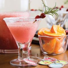 Frozen Cranberry Margaritos-Mix it up and serve margaritos—a tasty cross between a margarita and a mojito. Blend frozen mojito mix with tequila, cranberry sauce, orange liqueur, and lime juice for a satisfyingly sweet summer concoction. Frozen Mojito, Frozen Drinks, Cheers, Tequila Sunrise, Summer Drink Recipes, Cocktail Recipes, Fun Recipes, Margarita Recipes, Christmas Drinks