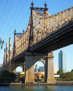 NYC. Queensboro Bridge over East River, Manhattan-Queens