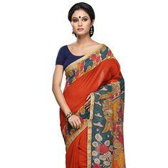 #Orange #SilkSaree with Blouse Chanderi Silk Saree, Silk Sarees Online, Blouse Online, Teal Blue, Sari, Pure Products, Bride, Orange, Simple