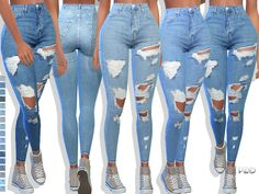 097 Denim Jeans with 17 colors. Found in TSR Category 'Sims 4 Female Everyday' Ripped Jeggings, Ripped Knee Jeans, High Waist Jeans, Denim Jeans, Cute Jeans, Maxis, Sims4 Clothes, Sims 4 Dresses, Sims 4 Cc Packs