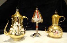 3 Vintage Antique Mercury Glass Blown Teapot Tea Lamp Christmas Ornaments