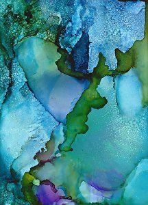 """Icy River by Lou Jordan Alcohol inks on Yupo ~ 10"""" x 8"""""""