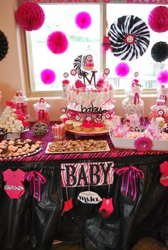 Hot pink and zebra baby shower candy buffet party. Candy Table Decorations, Dessert Table Decor, Birthday Party Decorations, Birthday Parties, Pink Zebra Party, Baby Zebra, Zebra Nursery, Baby Shower Candy Table, Baby Shower Themes