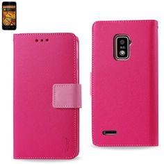 Reiko Wallet Case 3 In 1 For ZTE Warp 4G N9510 Hot Pink With Interior Polymer