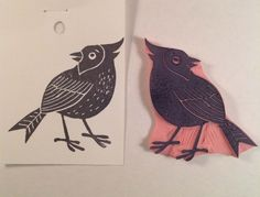 Cardinal Stamp .  Handmade rubber stamp. by ArtfulSunshine on Etsy