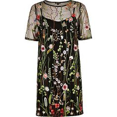 Black floral embroidered T-shirt dress