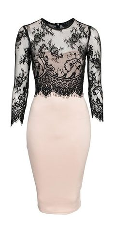 Blush and Black Lace bodycon