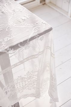 Custom Embroidered Lace Tablecloth (White) - Tablecloths | LoveShackFancy.com Bow Garland, Lace Inset, Southern Charm, Tablecloths, Embroidered Lace, Future House, Bows, Floral, Arches