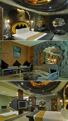 Batman-themed room at the Eden Hotel, Kaohsiung City, Taiwan. Costs $50 for 3 hours.  Adding this to my bucket list!!