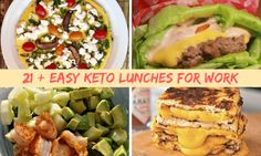 21+ Easy Keto lunches to take with to work. From salads to low carb sandwiches, yummy comfort food and left over dinner ideas.