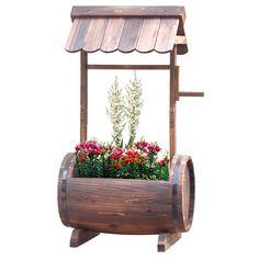 Wooden Barrel Well Planter
