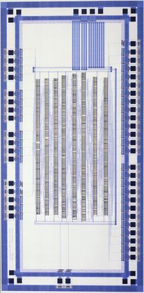 "Xerox Palo Alto Research Center | diagram of an application-specific integrated circuit (ASIC): test chip | computer-generated plot on paper | 92-1/2"" x 42-1/2"" 