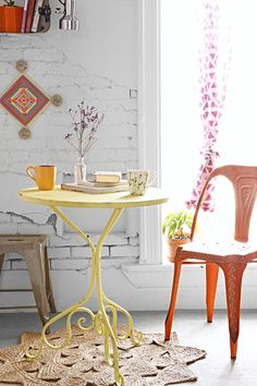 UO small kitchen table.. Depending how small my apartment ends up being, I'd look for an antique like this